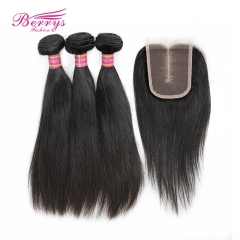 3 Bundles Peruvian Virgin Hair Straight with 4x4 Lace Closure(4*4) 100% Unprocessed Top Quality Hair Extension