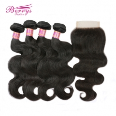 4pcs Peruvian Body Wave Virgin Human Hair with 1pc Lace Closure with Bleached Knots