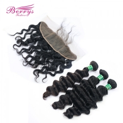 Pre Plucked 13*4 Lace Frontal with Brazilian 100% Virgin Hair loose Wave 3pcs Hair Natural Hair Top Quality Hair