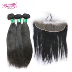 Pre-plucked Lace Frontal 13*4 with 3pcs Straight Bundles Unprocessed Berrys Fashion Brazilian Virgin Hair