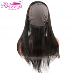 Free Shipping Berrys Fashion 360 Lace Frontal with Wig Cap Straight Peruvian Human Hair 100% Virgin Human Hair