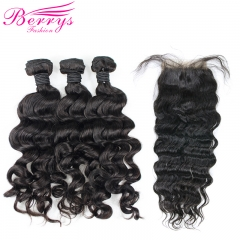 3 Bundles Loose Wave Brazilian Remy Hair With Closure Unprocessed 100% Remy Hair with 4x4 Lace Closure