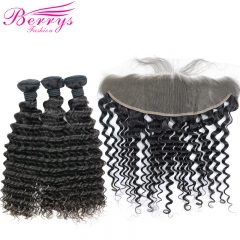 Berrys Fashion  Deep Wave Hair 3 Bundles & 1 Frontal 100% Remy Human Hair with Afforable Price
