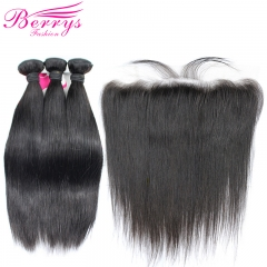 Berrys Fashion  Straight Hair 3 Bundles & 1 Frontal 100% Remy Human Hair with Afforable Price