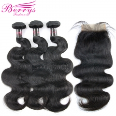 Body Wave Hair 3 Bundles & 1 Closure4PCS/ Lot with Cheap Hair ,New Arrival Malaysian Hair 100% Virgin Human Hair, can Be Dyed