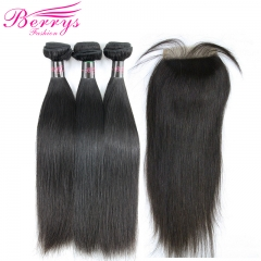 Straight Hair 3 Bundles & 1 Closure4PCS/ Lot with Cheap Hair ,New Arrival Malaysian Hair 100% Virgin Human Hair, can Be Dyed