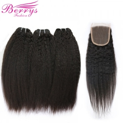 Brazilian Virgin Hair Kinky Straight Human Hair 3 PCS Bundles with Lace Closure 4x4 Unprocessed Human Hair Weft Berrys Fashion Hair