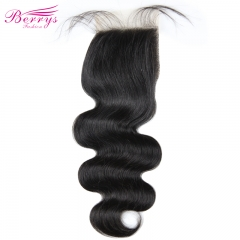 Berrys Fashion] Body Wave Free Part 4*4 transparent Lace closure Brazilian 100% Human hair 8-22 inches Natural Hairline bleached knots