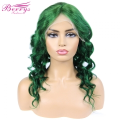 New Arrival Very Popular Body Wave Wig in Summer Green Color Frontal Lace Wig 130% Density  with Natural Hair Line and Bleached Knotes