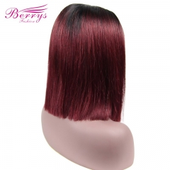 Wholesale For T1b/#99J Short Lace Human Hair Wigs To Women Brazilian Straight Remy Human Hair No Smell Lace Front Human Hair Wig